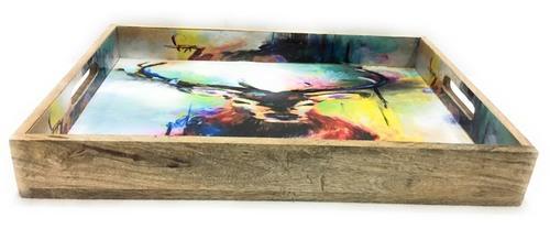 Cow Design Mango Wood Tray