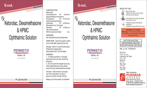 Ketorolac, Dexamethasone HPMC Ophthalmic Solution