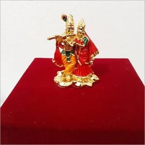 24K Gold And Silver Plated Radha Krishna Statue