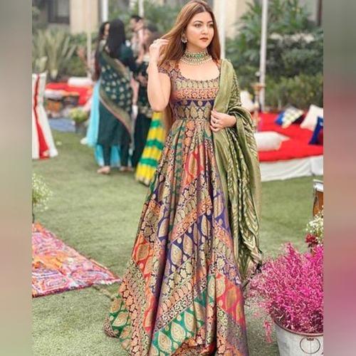 Stylish Pista Green Satin silk Printed  Long Wedding Wear Gown