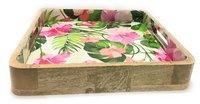 Beautiful Flower Design Mango Wood Tray