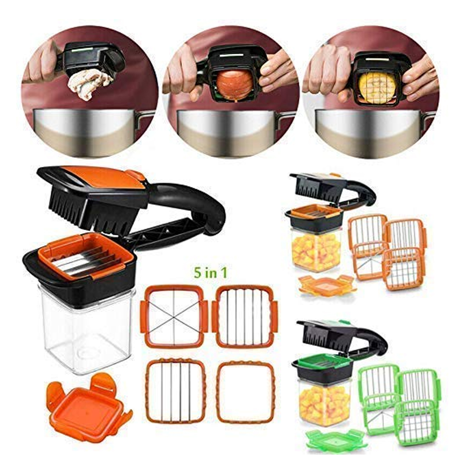5 in 1 Multifunction Vegetable Cutter, Manual Vegetable Quick Dicer Fruit Chopper Slicer