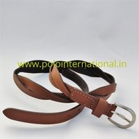 Full grain braided brown leather belt for women.