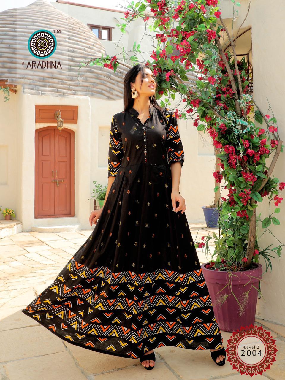 Aradhna Fashion Level Vol 2 Heavy Cotton Long Kurti Catalog