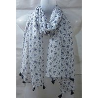 Poly Voile Fringes Printed Scarves