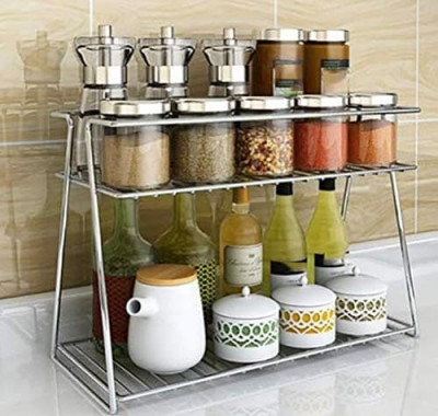 STAINLESS STEEL SPICE 2 TIER TROLLEY CONTAINER ORGANIZER (TRIANGLE)