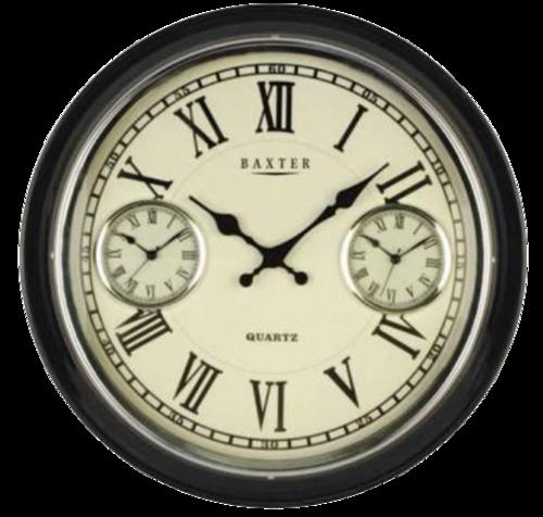 Black White Wooden Analog Brass Wall Clock