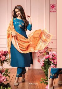 Aitbaar Vol 5 Designer Chanderi Silk With Embroidery Thread Work / Hand Work Kurtis