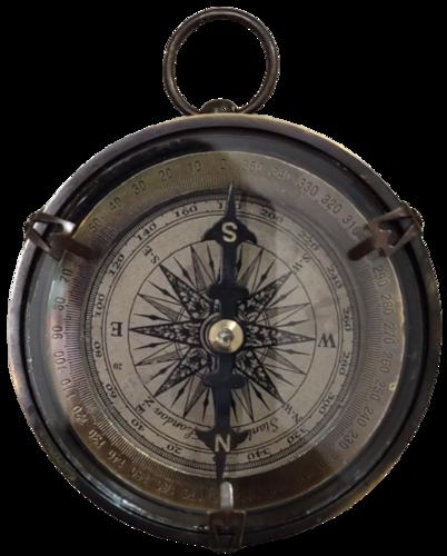 Antique Open Face Brass Compass