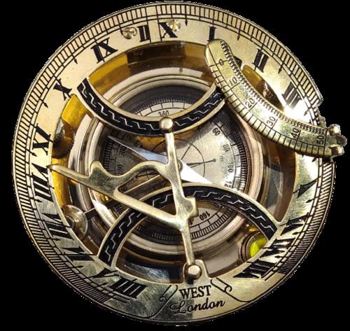 Gold Shine Roman Sundial Compass
