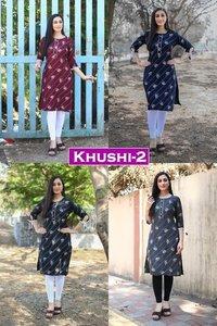 Khushi vol 2 Designer Rayon Printed Kurtis