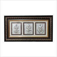 Laxmi Ganesh Saraswati Wooden Frame
