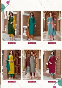Saheli-6 Designer Pure Nylon Viscose With 3d Weaving Kurti Pant With Dupatta