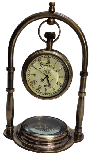 Antique Table Clock With Compass
