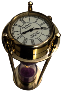 Gold Shine Hourglass Sand Timer With Clock