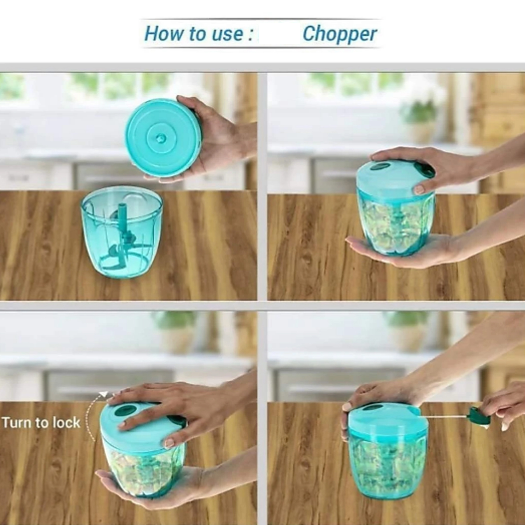 Handy Quick Cutter Vegetable Smoothy Chopper for Kitchen, 5 Steel Blade, (650 ml) Pull String