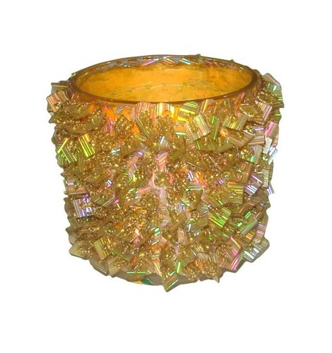 Glass And Beads Votive Candle Holder