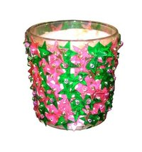 Stylish Glass And Multicolor Stone Votive Candle Holder