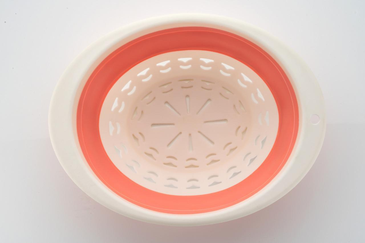 Round Collapsible Washing Up Bowl Silicone Strainer