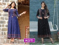 Koti Designer Fancy Rayon Long Kurtis