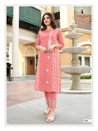 Rasam Designer Mall Cotton With Embrodary Work Kurtis With Pants
