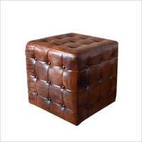 Brown Leather Pouf Ottoman