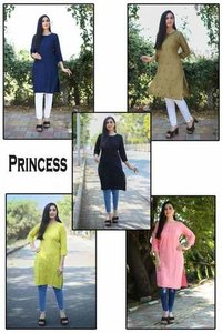 Princess Designer Rayon Embroidery Short Kurtis