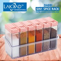 Spice Rack Storage Container with Tray for Salt Sugar 6 dabbi Crystal Lid Piece