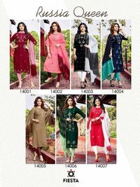Russia Queen Rayon Slub Kurti With Duppata
