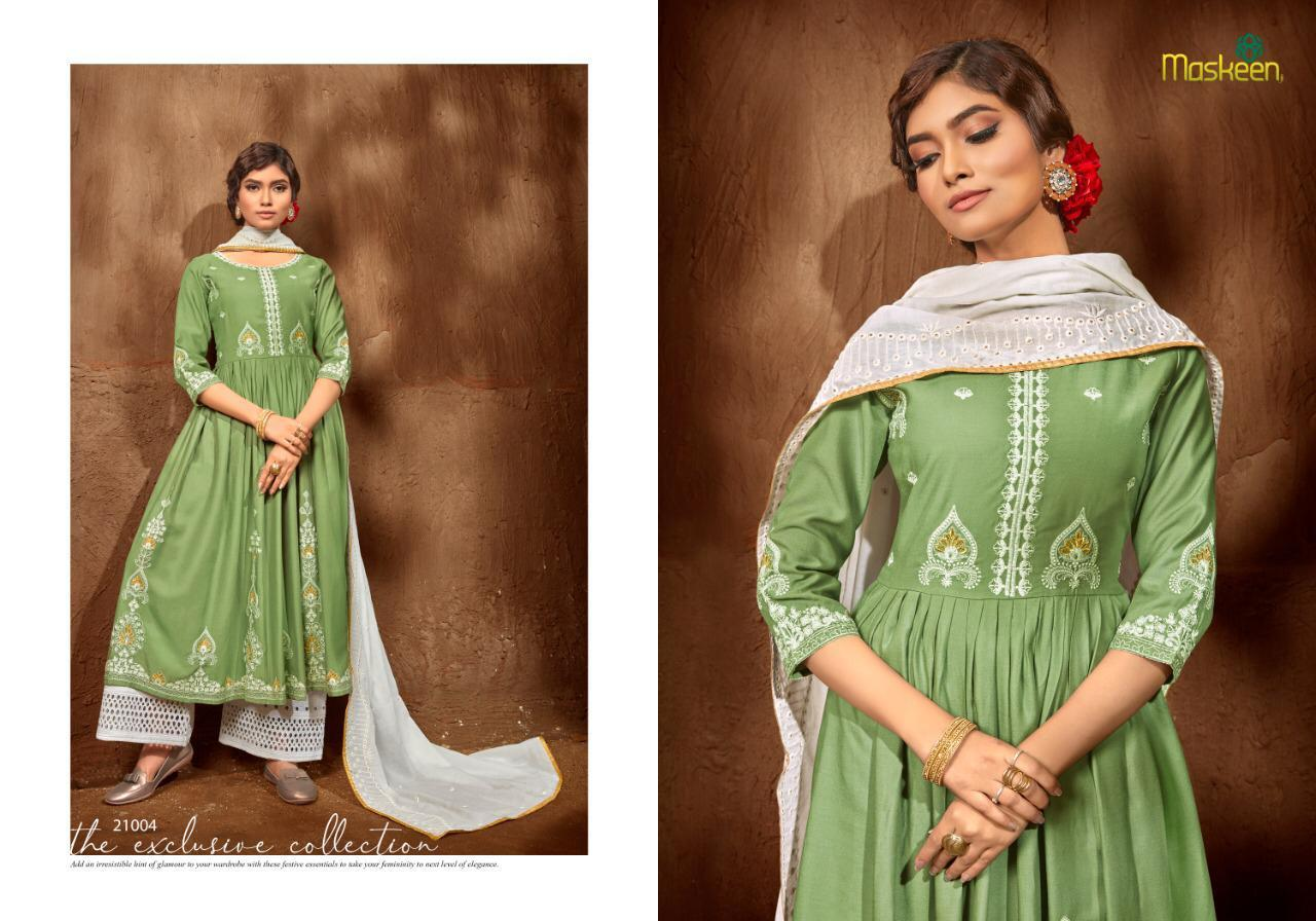 Maskeen Roza Rayon With Embroidery Work Readymade Suit Catalog