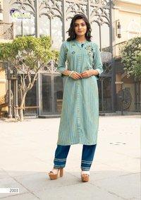 REVATI Weaving Multi Senil Premium Rayon Liva Kurtis With Pant