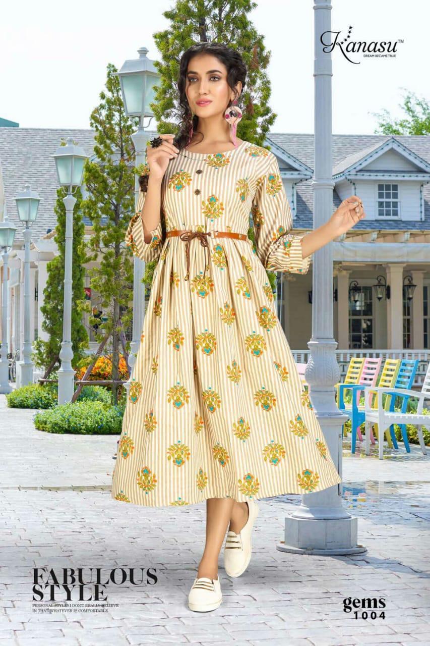 Kanasu Gems Cotton Flex Print With Belt And Katha Work Kurti Catalog