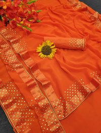 Partywear Georgette Saree With Golden Dots And Satin Patta Lace
