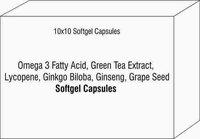 Soft Gel Capsule of Omega 3 Fatty Acid Green Tea Extract Lycopene Ginkgo Biloba Ginseng Graoe Seed