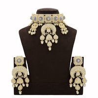 Kundan Necklace Set with Grey Carving Stones