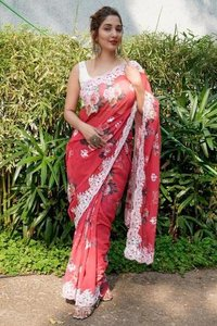 Partywear Georgette Saree With Viscose Thread Work With Beautiful Digital Print.