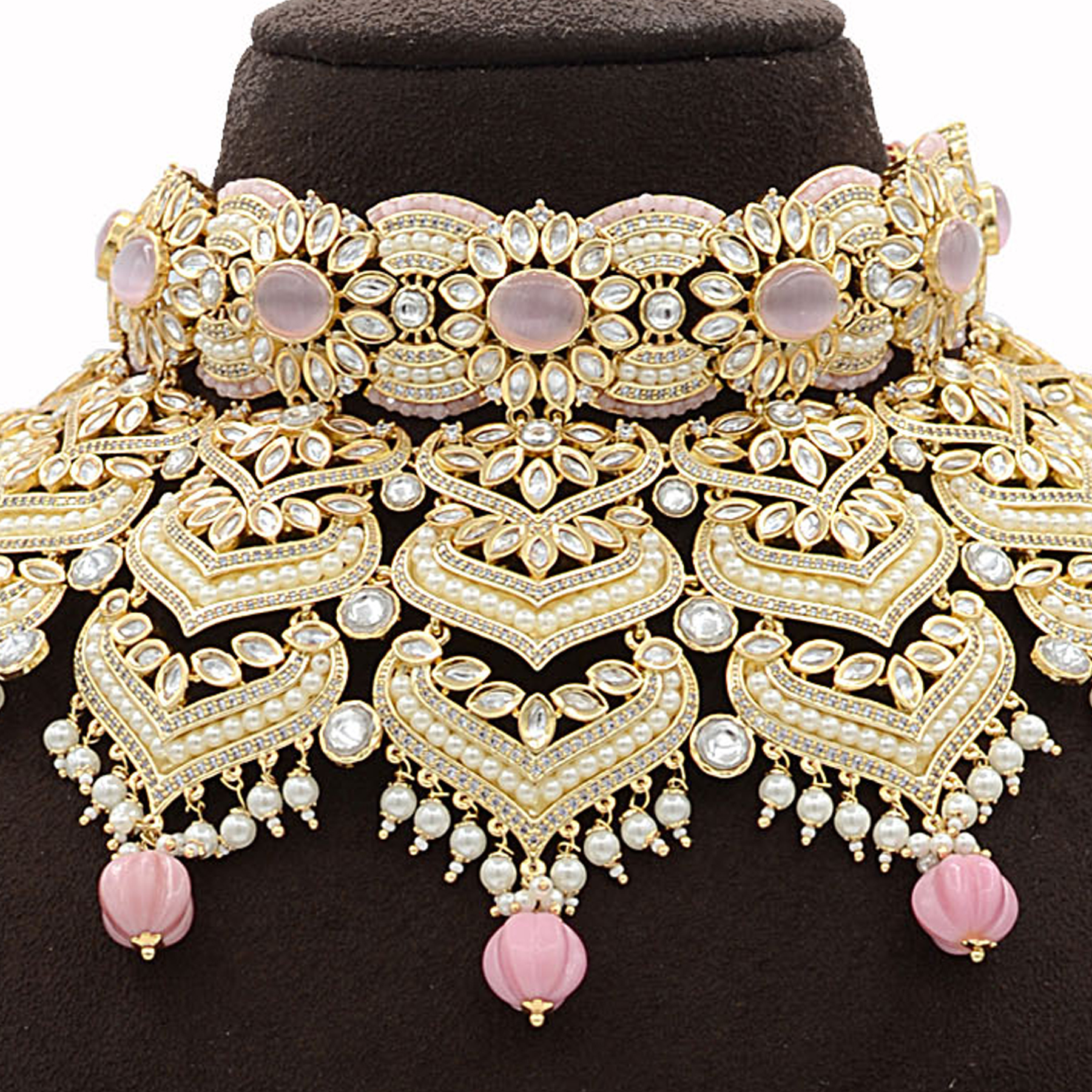 Kundan Necklace Set with Mint Pink stones