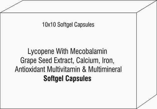 Lycopene With Mecobalamin Grape Seed Extract Calcium Iron Antioxidant Multivitamin & Multimineral