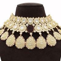 Kundan Necklace Set with Big Oval Maroon Stone