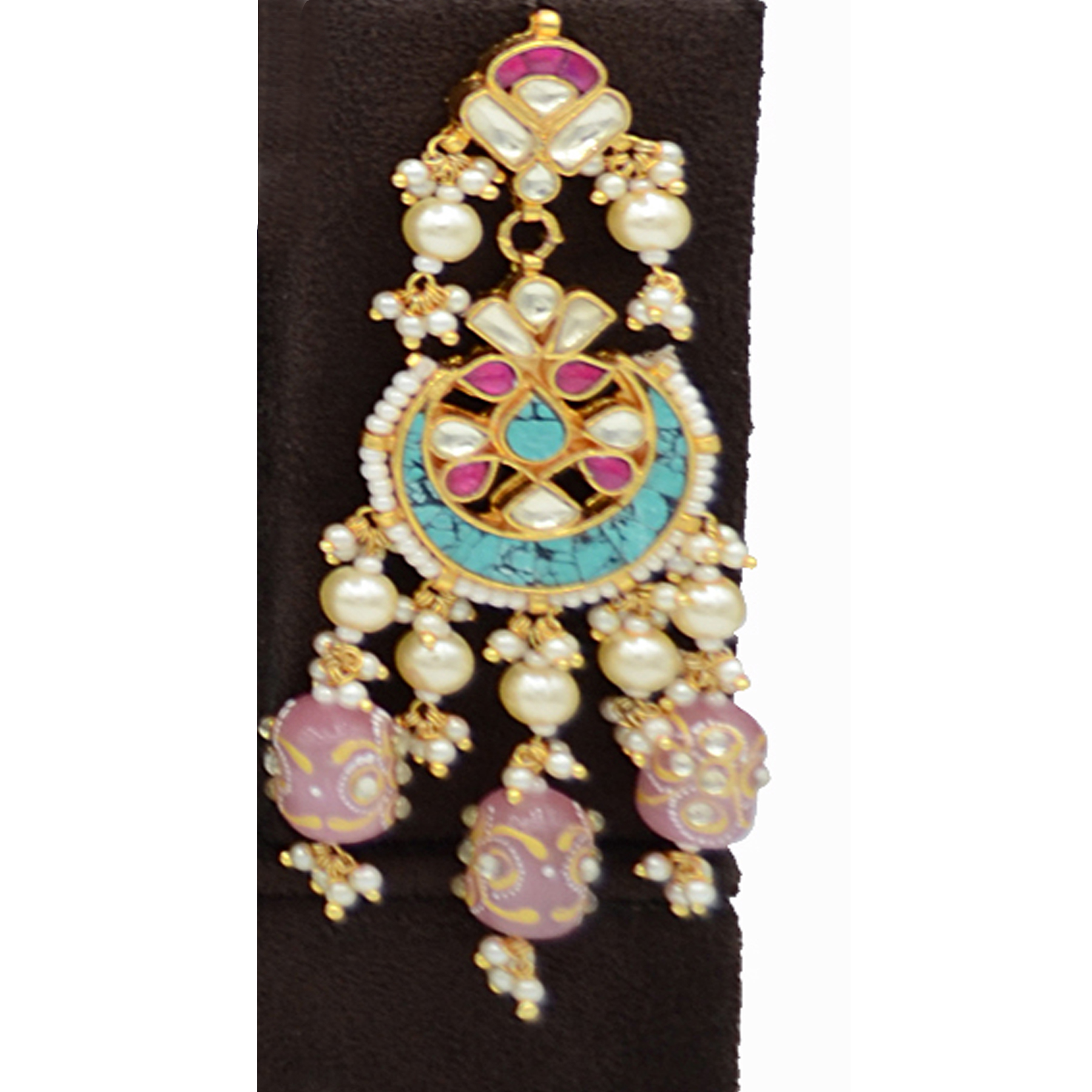 Pachi Kundan Necklace Set with Terquise Stone Work