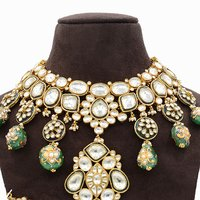 Pachi Kundan Necklace Set with Green Minakari Hangings