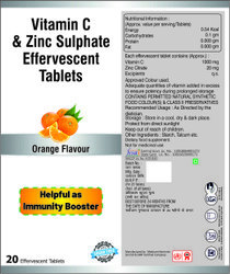 Vitamin C (1000 Mg Ascorbic Acid) & Zinc (20 Mg) Effervescent Tablets