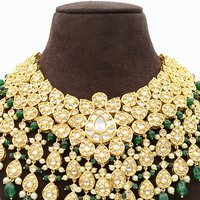 Kundan Necklace with Green Hangings