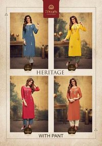HERITAGE PURE VISCOSE FABRIC WITH HAND WORK KURTIS