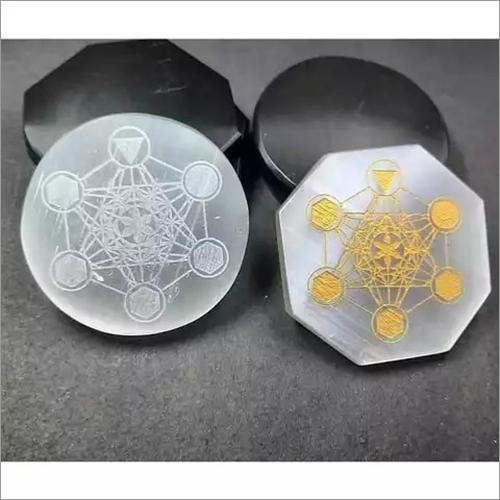 Handmade Selenite Carving Plate With Star Design