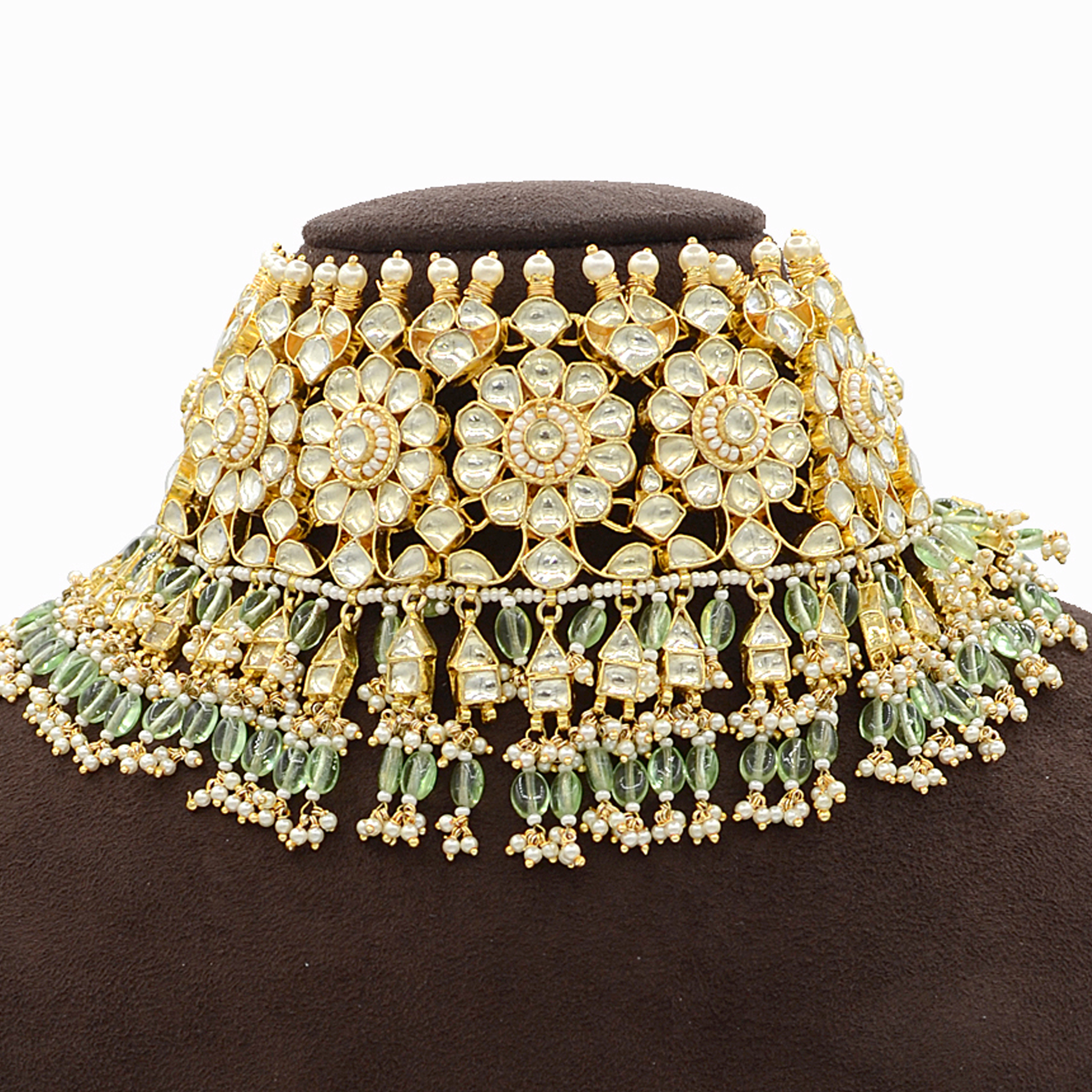 Pachi Kundan Necklace Set with Mint Green Hangings