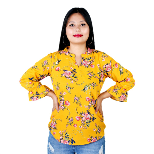 Yellow Flower Print Top