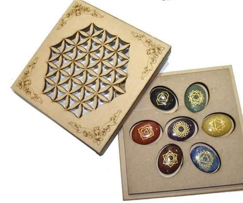 Stone Oval 7 Chakra Engraved Reiki Set With Box