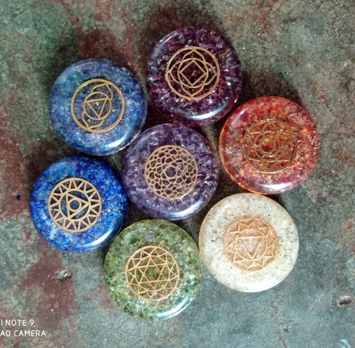 Orgone Stone Sphere Chakra Item With Engraved