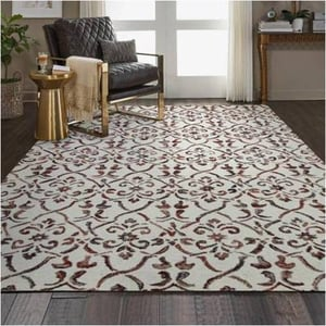 Mitzi Ivory Red Floral Hand Tufted Carpet